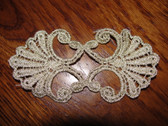 Gold Flecked Ecru Venise Venice Lace Mirror Image Scrolls Sew On Applique