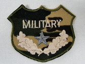 Military Camo with Star Crest Embroidered Iron On Applique Patch