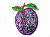 Purple Metallic Plum Embroidered Iron On Patch