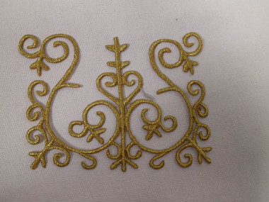 Elaborate Gold Scroll Square Crest Costume Iron On Embroidered Patch 4.5 In