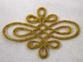 Elaborate Gold Scroll Iron On Embroidered Patch 2.25 In