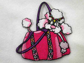 Pink Poodle in Purse Embroidered Iron On Patch