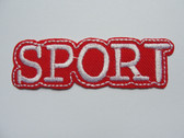 Sport Legend in White on Red Embroidered Iron On Patch 3 Inch