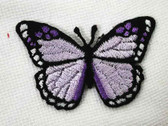 Lavender Butterfly Embroidered Iron On Patch 2 Inch
