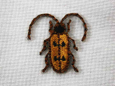 2 Bronze Beetle Bug A Embroidered Iron On Patch .75 In