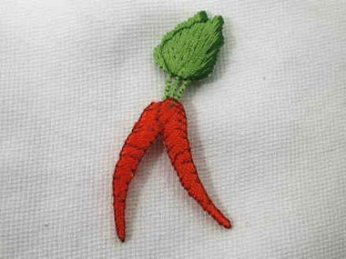 Carrot Bunch Vegetable Embroidered Iron On Applique Patch