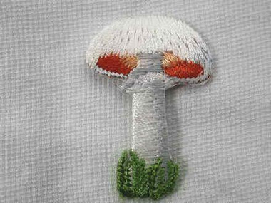 Mushroom Vegetable Embroidered Iron On Applique Patch