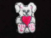 Bunny w Heart Infant Iron On Applique Patch