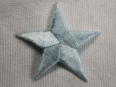 Star Pastel Blue Embroidered Iron On Patch 1.75 In