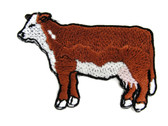Hereford Cow Brown White Heifer Embroidered Iron On Applique Patch 2.5 Inches