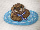 Swimming Sea Otter Infant Embroidered Iron On Applique Patch