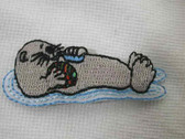 Floating Sea Otter Infant Embroidered Iron On Applique Patch