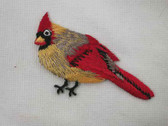 Cardinal Single Female Embroidered Iron On Patch 2.75