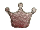 Pink Silver Princess Crown Embroidered Iron On Patch Applique 1.25 Inch
