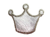 White Silver Princess Crown Embroidered Iron On Patch Applique 1.25 Inch