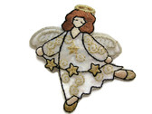 Angel with Stars Embroidered Iron On Applique Patch
