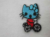 Miss Kitty Cat Blue Tricycle Embroidered Iron On Patch