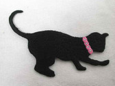 Black Batting Cat Embroidered Iron On Applique Patch