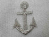 Nautical Anchor Met Silver Iron On Patch Applique 1.75