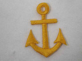 Yellow Gold Nautical Anchor Iron On Patch 1.75 In