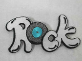 ROCK w Record Embroidered Iron On Applique Patch