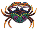 Crab with Claws Green Orange Purple Embroidered Iron On Patch 3.75 Inches