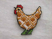 Two Checkered Hen Embroidered Iron On Applique Patch