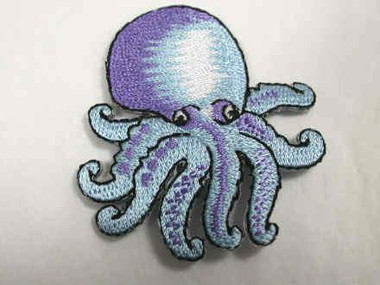 Natural Octopus Iron On Embroidered Applique Patch 2 Inch