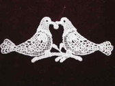 Love Bird Dove Pair White Venise Sew On Applique Patch