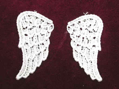 Pair White Venise Lace Angel Wings Sew On Applique