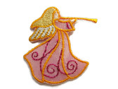 Luster Pink Angel with Trumpet Embroidered Iron On Patch Applique
