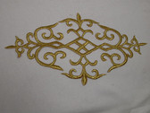 Elaborate Gold Scroll Medallion Costume Iron On Embroidered Patch 10.88 In