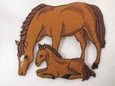 Mare w Foal Embroidered Iron On Applique Patch