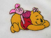 Sleeping Pooh Piglet Embroidered Iron On Applique Patch