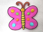 Shimmery Pink Butterfly Iron On Applique Patch 1.25 In