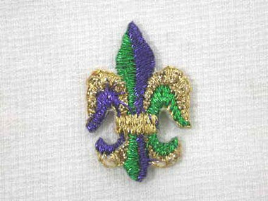 10 Pcs Fleur de Lis Gold Green Purple Iron On Patch 1 Inch