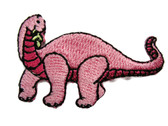Apatosaurus Dinosaur Child Cartoon Pink Embroidered Iron On Patch 2 Inches