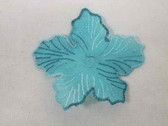Aqua Organza Flower Embroidered Sew On Applique 3 Inch