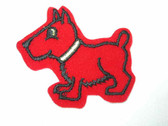 Big Red Dog Embroidered Stick On Patch