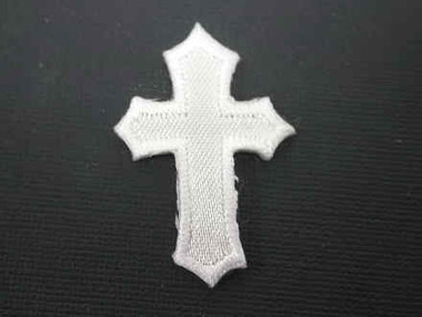 Christian Cross Satin Iron On Patch 1.25 In