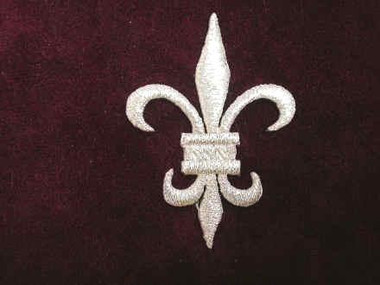 Fleur de Lis Silver Embroidered Iron On Patch 2.5 Inch