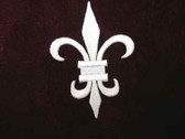 Fleur de Lis White Embroidered Iron On Patch 2.5 Inch