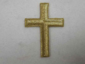 Gold Metallic Cross Embroidered Iron On Patch 1.75 Inch