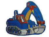 Excavator Child Embroidered Twill Iron On Patch Applique - Blue