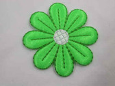 Bright Green Daisy Iron On Applique Patch 3 In