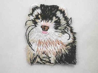 Silver Mitt Ferret Head Iron On Applique Patch 2 Inch