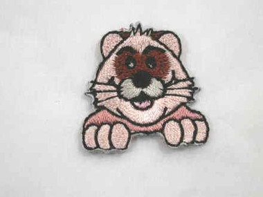 Grinning Ferret Face Iron On Applique Patch 1 In