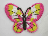 Pink White Yellow Butterfly Iron On Patch 3 In