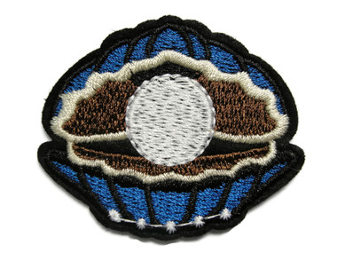 White Pearl in Shell Embroidered Iron On Patch Applique 2.25 Inches