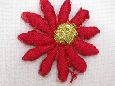 Red w Gold Daisy Embroidered Iron On Patch .75 In